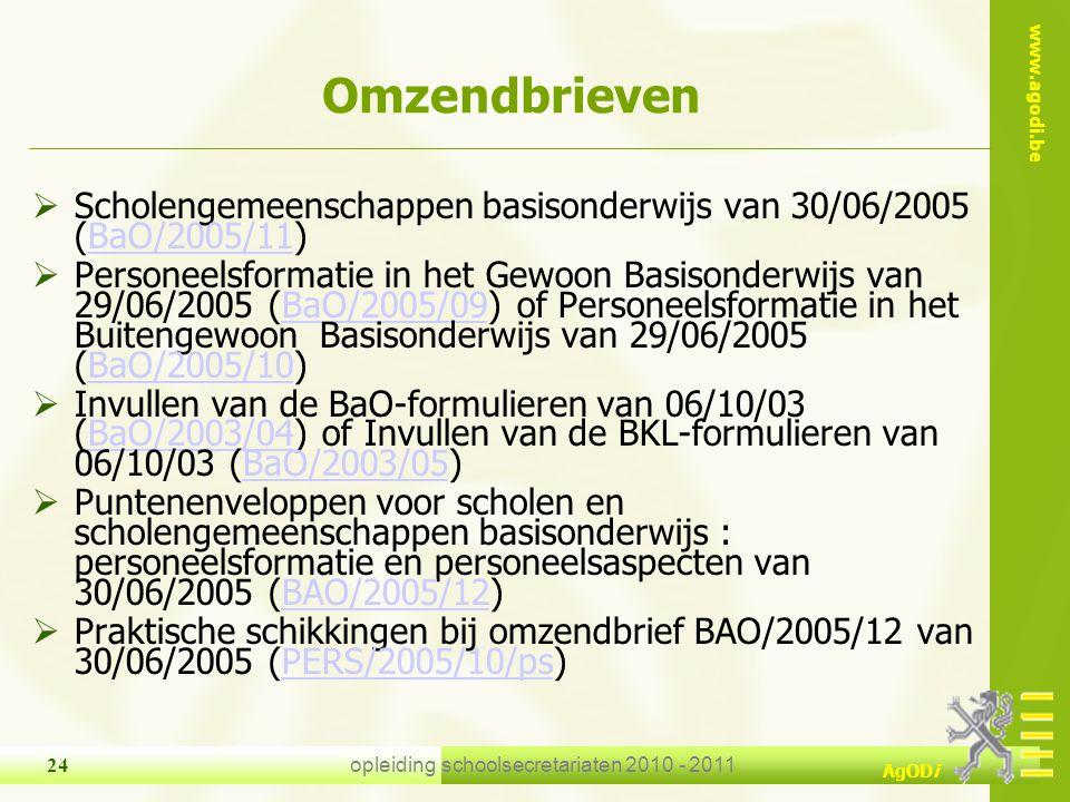 www.agodi.be AgODi opleiding schoolsecretariaten 2010 - 2011 24 Omzendbrieven  Scholengemeenschappen basisonderwijs van 30/06/2005 (BaO/2005/11)BaO/2