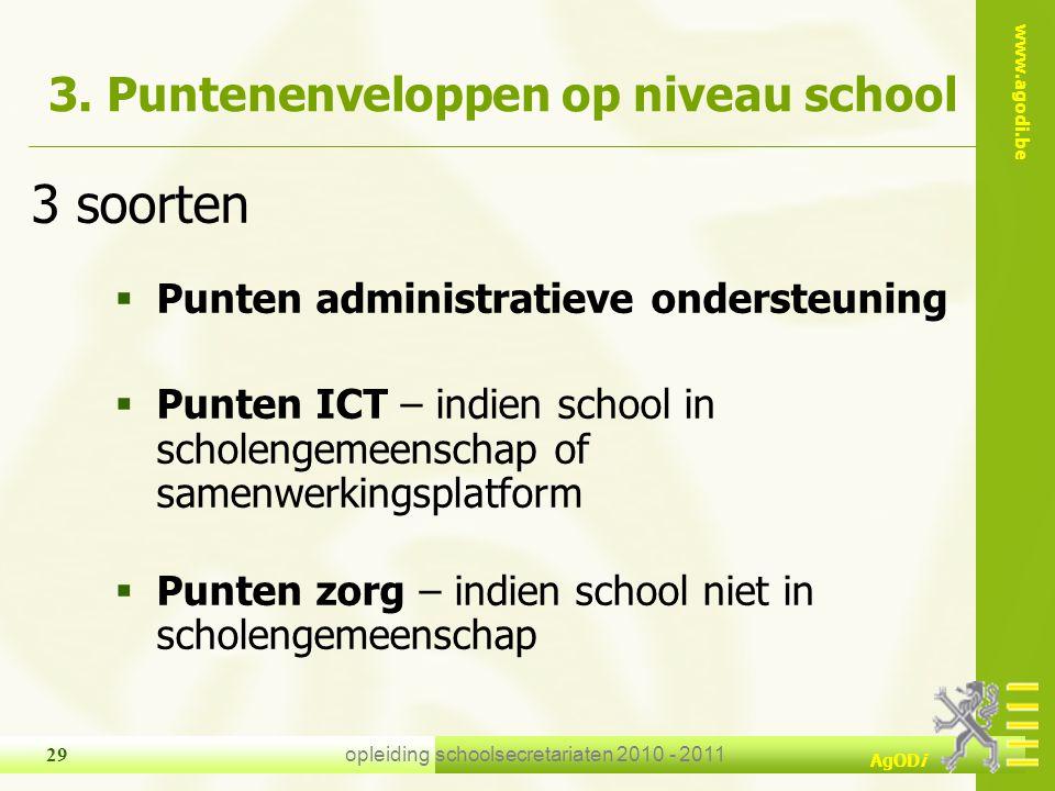 www.agodi.be AgODi opleiding schoolsecretariaten 2010 - 2011 29 3. Puntenenveloppen op niveau school 3 soorten  Punten administratieve ondersteuning