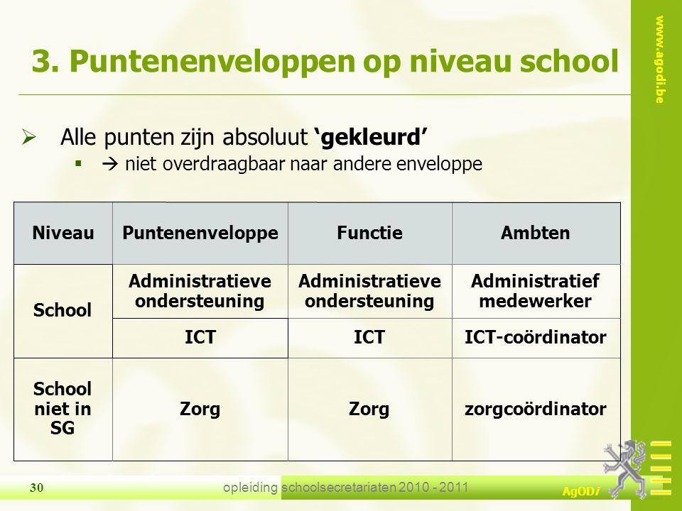 www.agodi.be AgODi opleiding schoolsecretariaten 2010 - 2011 30 3. Puntenenveloppen op niveau school  Alle punten zijn absoluut 'gekleurd'  niet ov