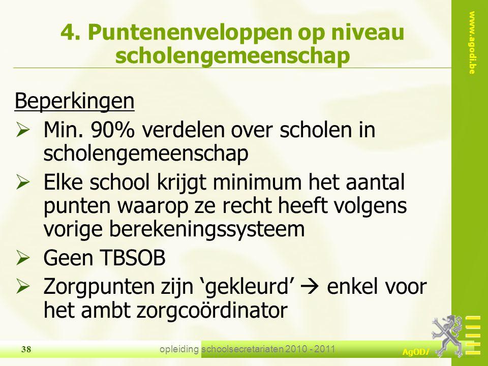 www.agodi.be AgODi opleiding schoolsecretariaten 2010 - 2011 38 4. Puntenenveloppen op niveau scholengemeenschap Beperkingen  Min. 90% verdelen over