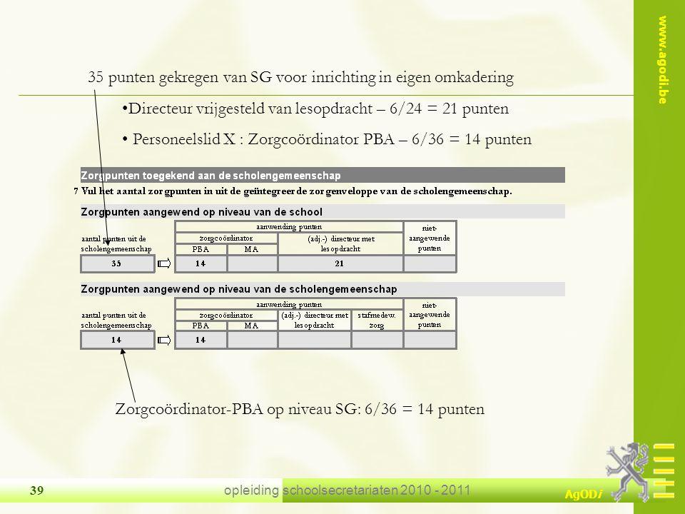 www.agodi.be AgODi opleiding schoolsecretariaten 2010 - 2011 39 35 punten gekregen van SG voor inrichting in eigen omkadering Directeur vrijgesteld va