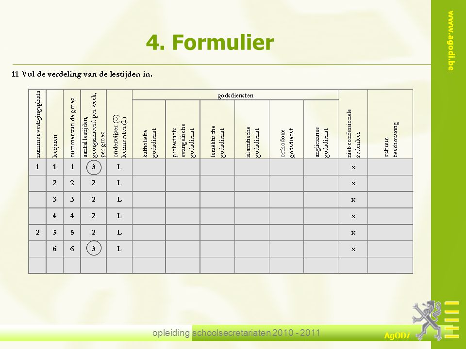 www.agodi.be AgODi opleiding schoolsecretariaten 2010 - 2011 4. Formulier