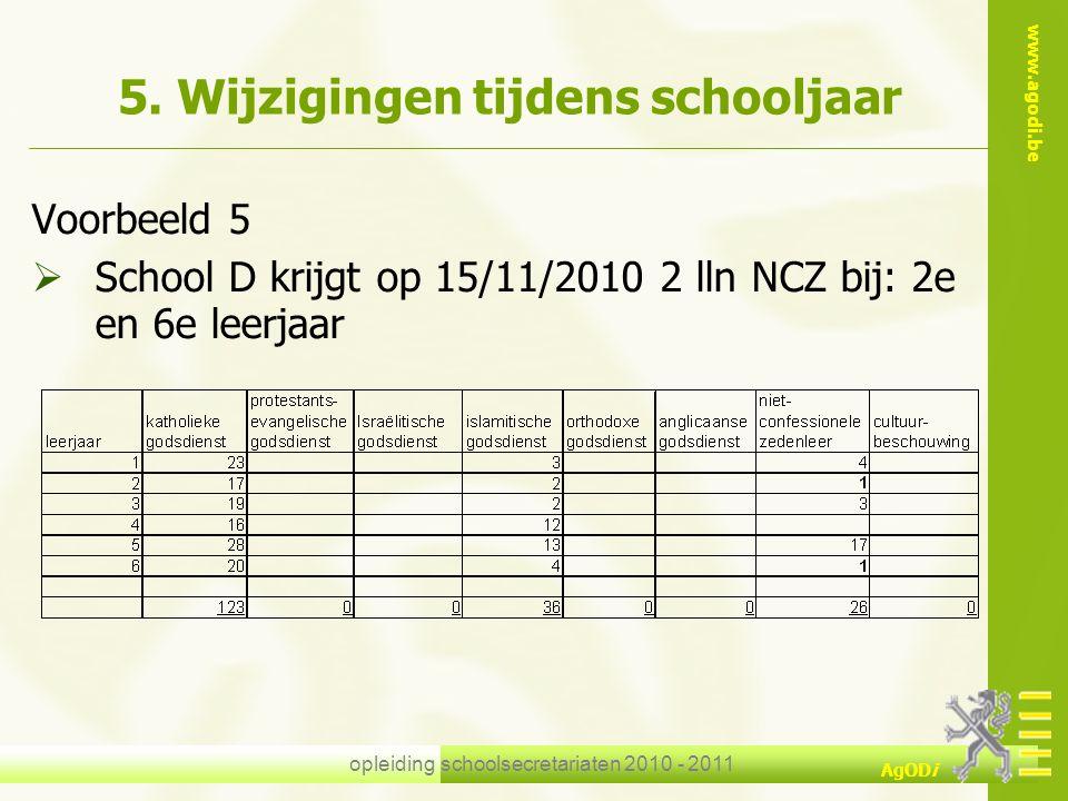 www.agodi.be AgODi opleiding schoolsecretariaten 2010 - 2011 5. Wijzigingen tijdens schooljaar Voorbeeld 5  School D krijgt op 15/11/2010 2 lln NCZ b