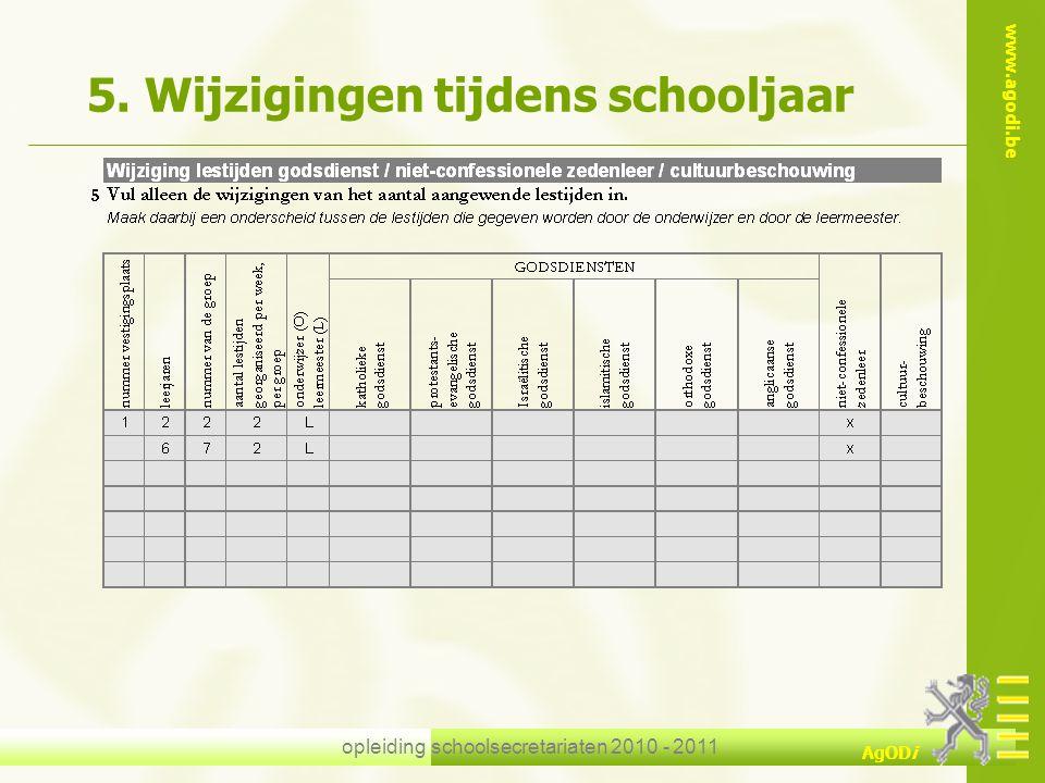 www.agodi.be AgODi opleiding schoolsecretariaten 2010 - 2011 5. Wijzigingen tijdens schooljaar