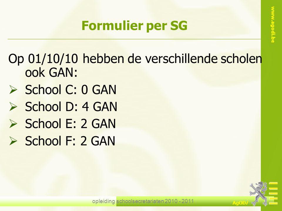 www.agodi.be AgODi opleiding schoolsecretariaten 2010 - 2011 Formulier per SG Op 01/10/10 hebben de verschillende scholen ook GAN:  School C: 0 GAN 