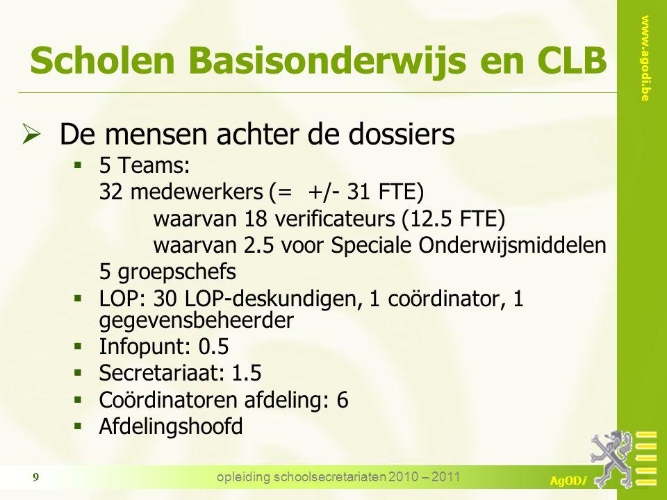 www.agodi.be AgODi opleiding schoolsecretariaten 2010 – 2011 10 Personeel Basisonderwijs en CLB  Beleidsuitvoering m.b.t.