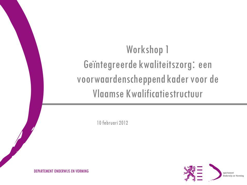 Workshop 1 Geïntegreerde kwaliteitszorg : een voorwaardenscheppend kader voor de Vlaamse Kwalificatiestructuur 10 februari 2012
