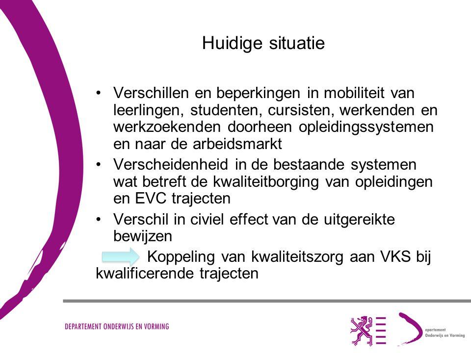 Huidige situatie Verschillen en beperkingen in mobiliteit van leerlingen, studenten, cursisten, werkenden en werkzoekenden doorheen opleidingssystemen