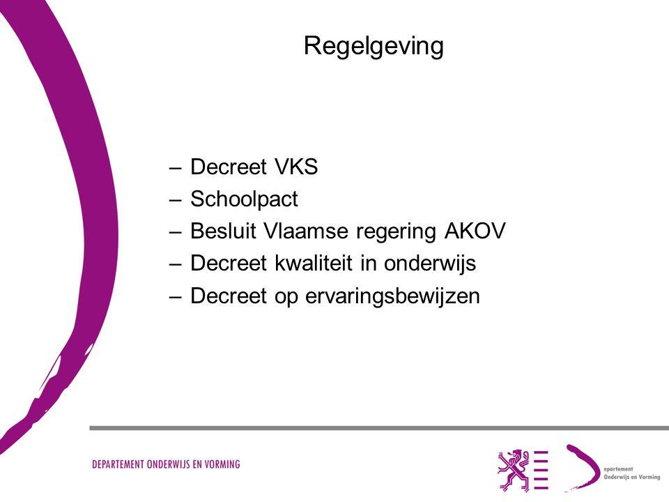 Regelgeving –Decreet VKS –Schoolpact –Besluit Vlaamse regering AKOV –Decreet kwaliteit in onderwijs –Decreet op ervaringsbewijzen