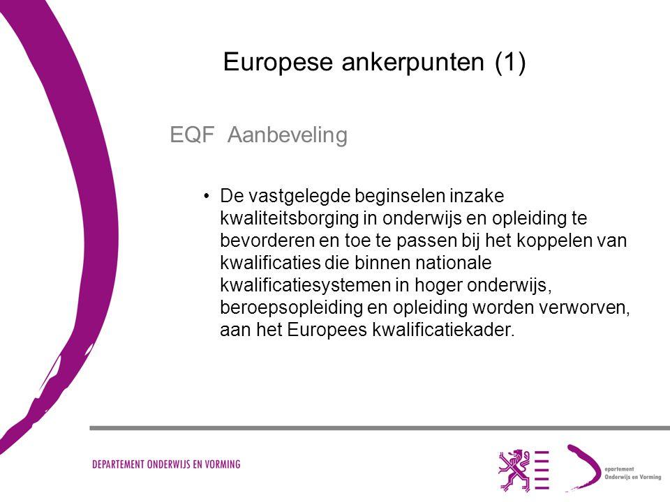 Europese ankerpunten (1) EQF Aanbeveling De vastgelegde beginselen inzake kwaliteitsborging in onderwijs en opleiding te bevorderen en toe te passen bij het koppelen van kwalificaties die binnen nationale kwalificatiesystemen in hoger onderwijs, beroepsopleiding en opleiding worden verworven, aan het Europees kwalificatiekader.
