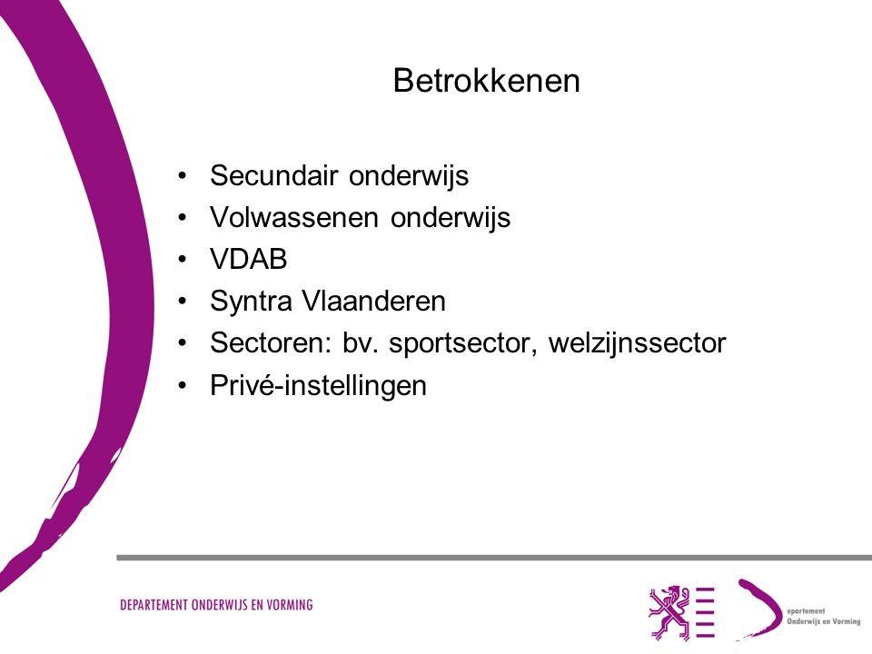 Betrokkenen Secundair onderwijs Volwassenen onderwijs VDAB Syntra Vlaanderen Sectoren: bv. sportsector, welzijnssector Privé-instellingen