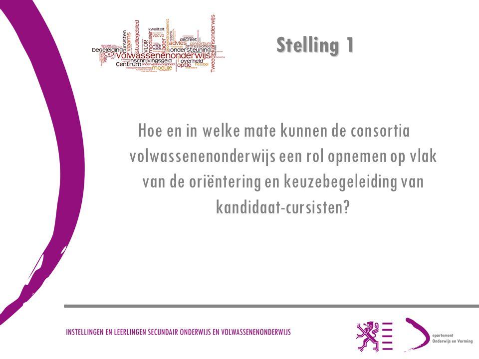 Stelling 1 Hoe en in welke mate kunnen de consortia volwassenenonderwijs een rol opnemen op vlak van de oriëntering en keuzebegeleiding van kandidaat-cursisten?
