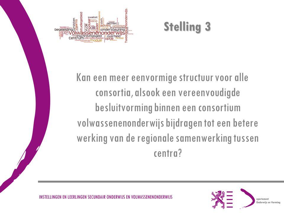 Stelling 3 Kan een meer eenvormige structuur voor alle consortia, alsook een vereenvoudigde besluitvorming binnen een consortium volwassenenonderwijs bijdragen tot een betere werking van de regionale samenwerking tussen centra?