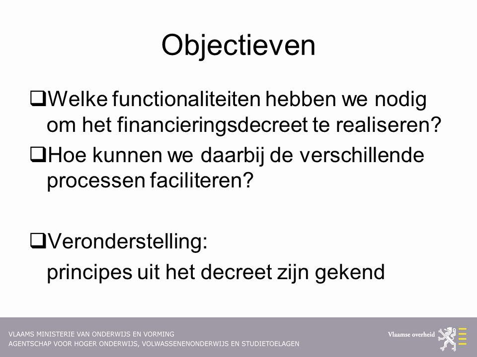 Objectieven  Welke functionaliteiten hebben we nodig om het financieringsdecreet te realiseren?  Hoe kunnen we daarbij de verschillende processen fa