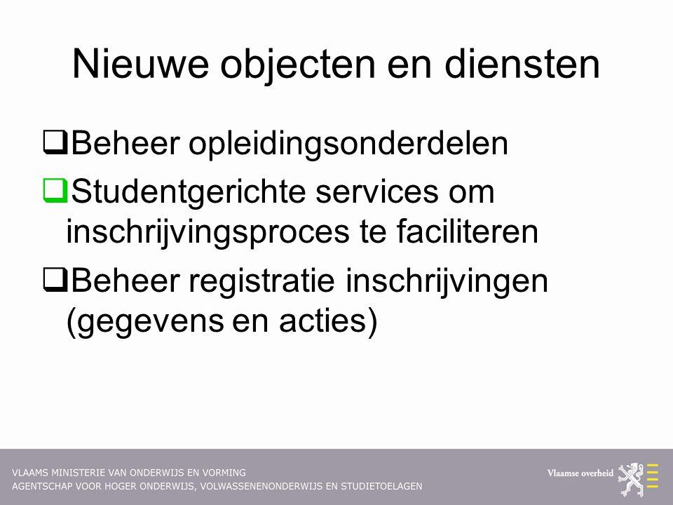 Nieuwe objecten en diensten  Beheer opleidingsonderdelen  Studentgerichte services om inschrijvingsproces te faciliteren  Beheer registratie inschrijvingen (gegevens en acties)