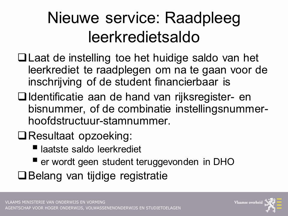 Nieuwe service: Raadpleeg leerkredietsaldo  Laat de instelling toe het huidige saldo van het leerkrediet te raadplegen om na te gaan voor de inschrij
