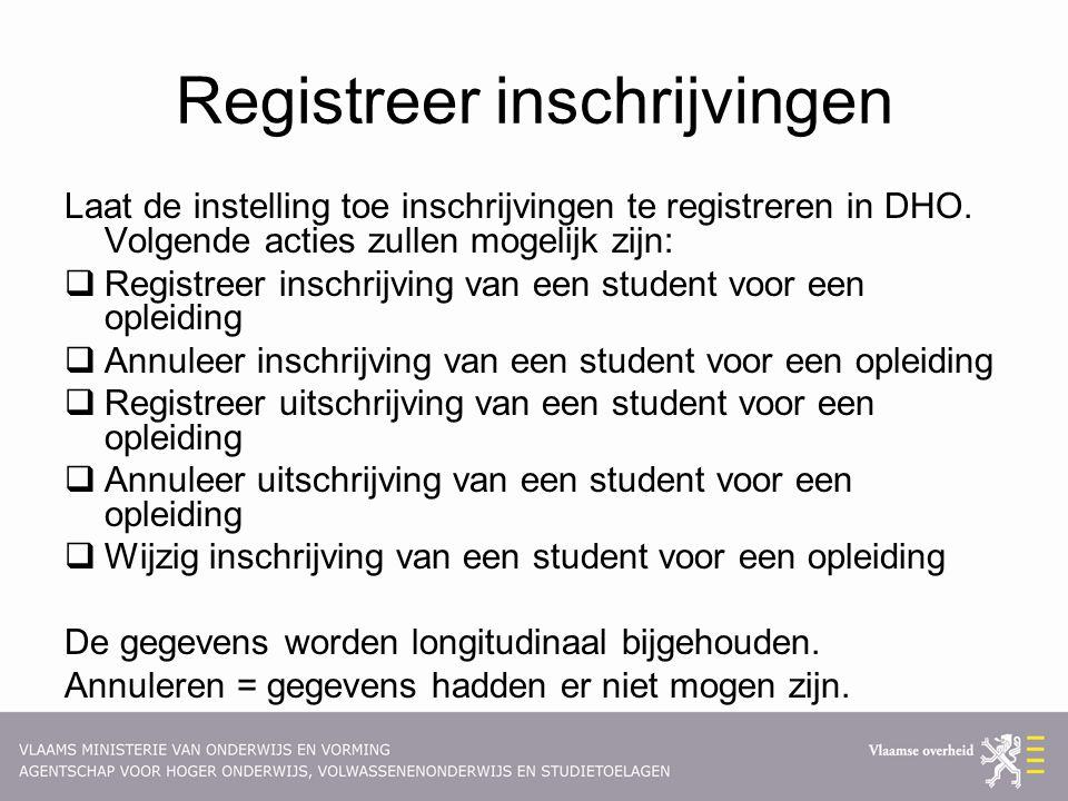Registreer inschrijvingen Laat de instelling toe inschrijvingen te registreren in DHO. Volgende acties zullen mogelijk zijn:  Registreer inschrijving