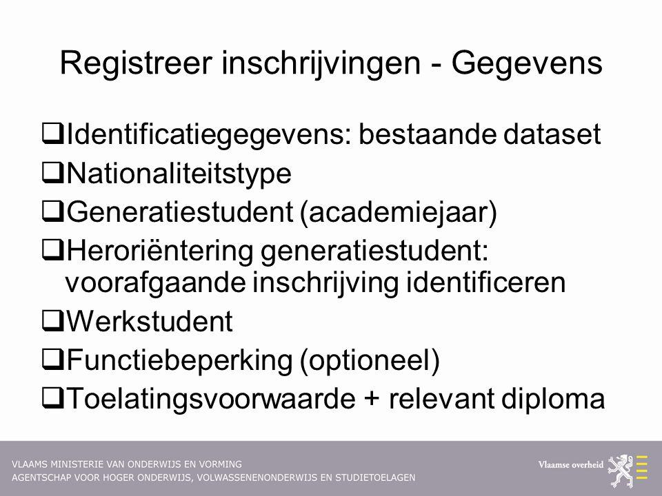 Registreer inschrijvingen - Gegevens  Identificatiegegevens: bestaande dataset  Nationaliteitstype  Generatiestudent (academiejaar)  Heroriënterin