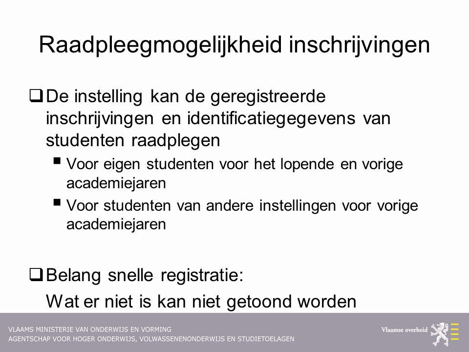 Raadpleegmogelijkheid inschrijvingen  De instelling kan de geregistreerde inschrijvingen en identificatiegegevens van studenten raadplegen  Voor eig