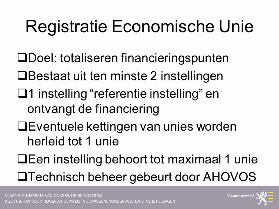 """Registratie Economische Unie  Doel: totaliseren financieringspunten  Bestaat uit ten minste 2 instellingen  1 instelling """"referentie instelling"""" en"""