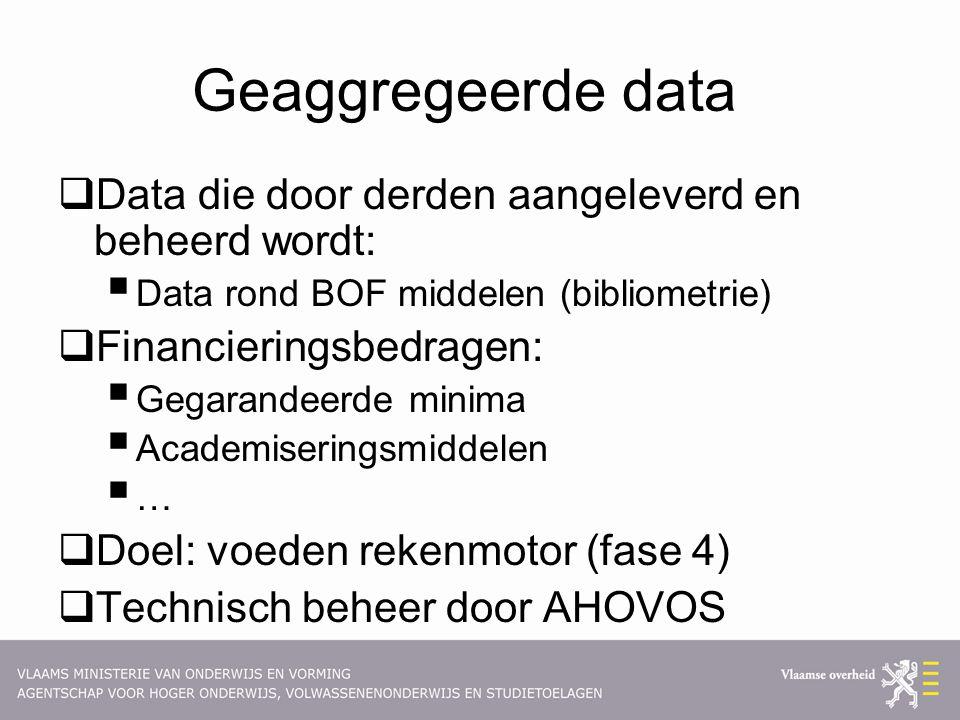 Geaggregeerde data  Data die door derden aangeleverd en beheerd wordt:  Data rond BOF middelen (bibliometrie)  Financieringsbedragen:  Gegarandeerde minima  Academiseringsmiddelen  …  Doel: voeden rekenmotor (fase 4)  Technisch beheer door AHOVOS