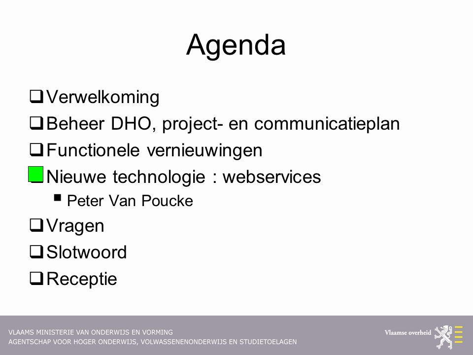 Agenda  Verwelkoming  Beheer DHO, project- en communicatieplan  Functionele vernieuwingen  Nieuwe technologie : webservices  Peter Van Poucke  Vragen  Slotwoord  Receptie
