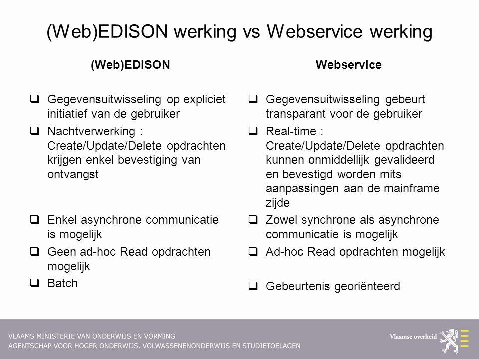(Web)EDISON werking vs Webservice werking (Web)EDISON  Gegevensuitwisseling op expliciet initiatief van de gebruiker  Nachtverwerking : Create/Update/Delete opdrachten krijgen enkel bevestiging van ontvangst  Enkel asynchrone communicatie is mogelijk  Geen ad-hoc Read opdrachten mogelijk  Batch Webservice  Gegevensuitwisseling gebeurt transparant voor de gebruiker  Real-time : Create/Update/Delete opdrachten kunnen onmiddellijk gevalideerd en bevestigd worden mits aanpassingen aan de mainframe zijde  Zowel synchrone als asynchrone communicatie is mogelijk  Ad-hoc Read opdrachten mogelijk  Gebeurtenis georiënteerd