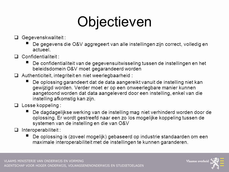 Objectieven  Gegevenskwaliteit :  De gegevens die O&V aggregeert van alle instellingen zijn correct, volledig en actueel.  Confidentialiteit :  De