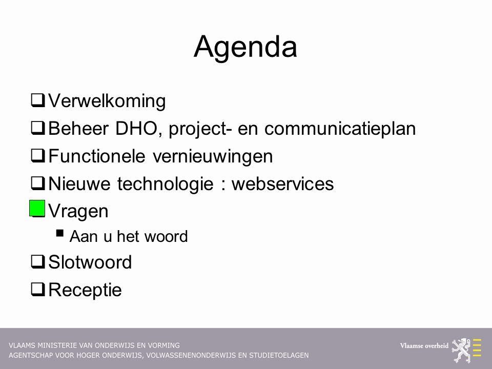 Agenda  Verwelkoming  Beheer DHO, project- en communicatieplan  Functionele vernieuwingen  Nieuwe technologie : webservices  Vragen  Aan u het woord  Slotwoord  Receptie