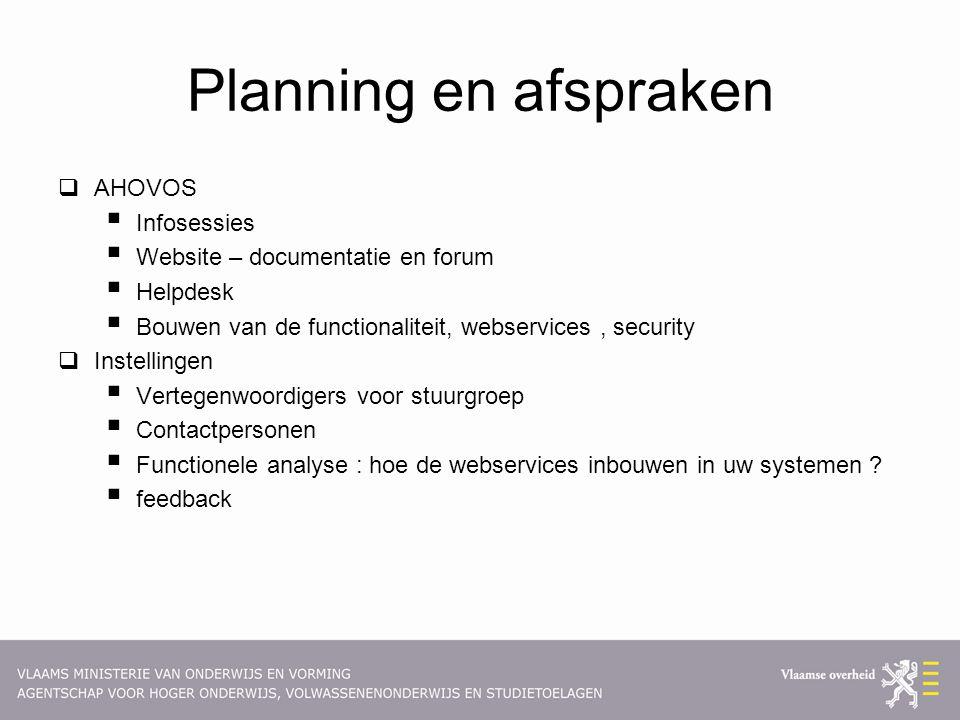 Planning en afspraken  AHOVOS  Infosessies  Website – documentatie en forum  Helpdesk  Bouwen van de functionaliteit, webservices, security  Ins