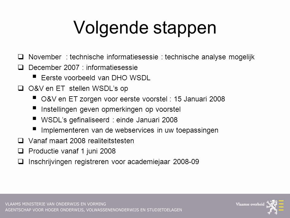Volgende stappen  November : technische informatiesessie : technische analyse mogelijk  December 2007 : informatiesessie  Eerste voorbeeld van DHO