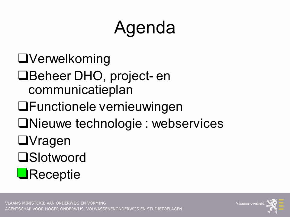 Agenda  Verwelkoming  Beheer DHO, project- en communicatieplan  Functionele vernieuwingen  Nieuwe technologie : webservices  Vragen  Slotwoord  Receptie
