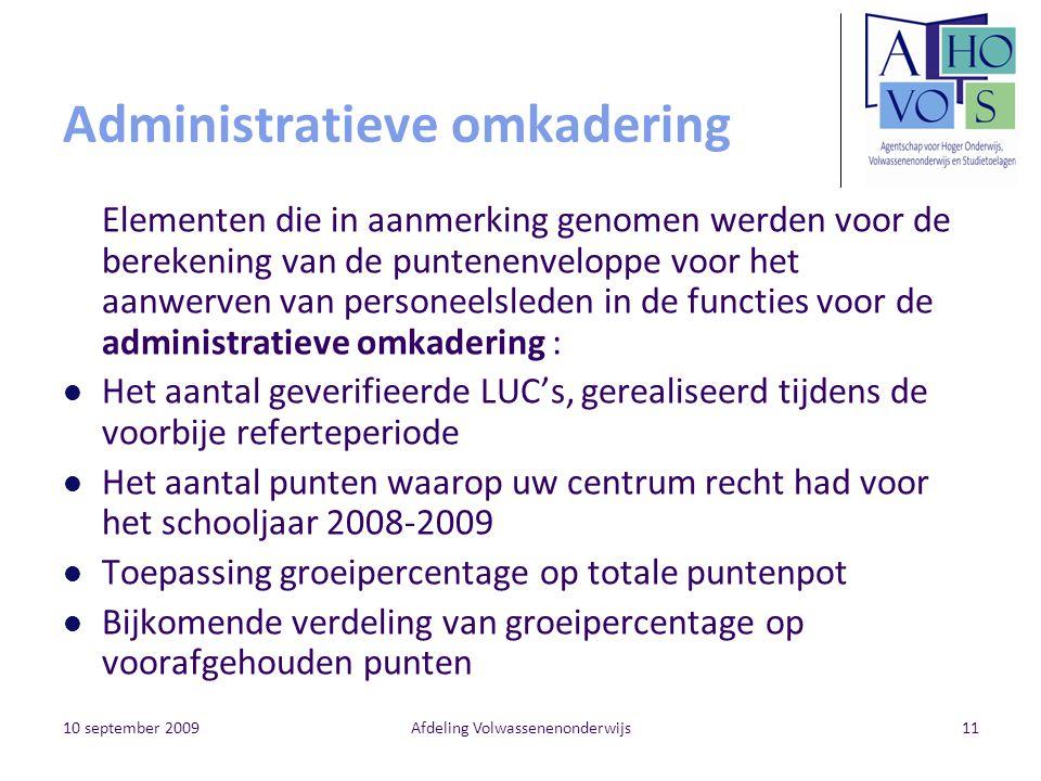 10 september 2009Afdeling Volwassenenonderwijs11 Administratieve omkadering Elementen die in aanmerking genomen werden voor de berekening van de punte