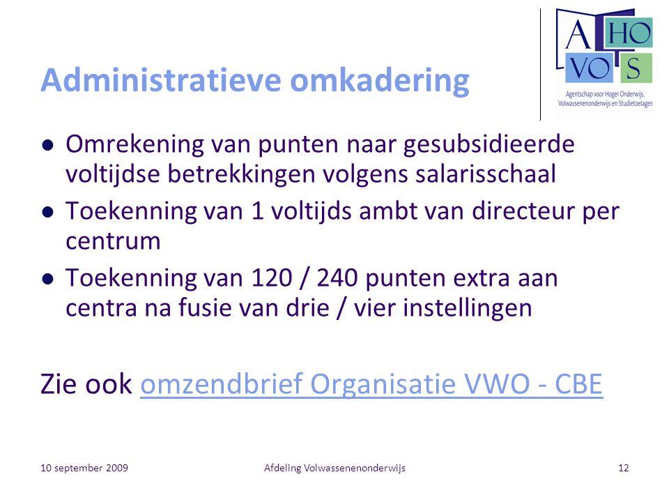 10 september 2009Afdeling Volwassenenonderwijs12 Administratieve omkadering Omrekening van punten naar gesubsidieerde voltijdse betrekkingen volgens s
