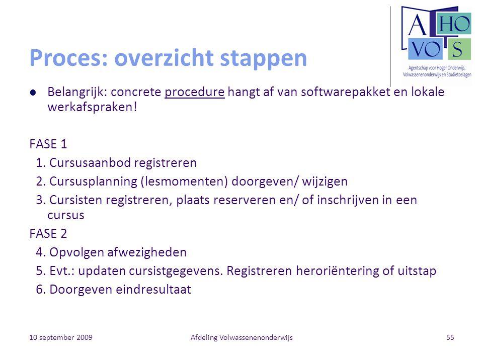 10 september 2009Afdeling Volwassenenonderwijs55 Proces: overzicht stappen Belangrijk: concrete procedure hangt af van softwarepakket en lokale werkafspraken.