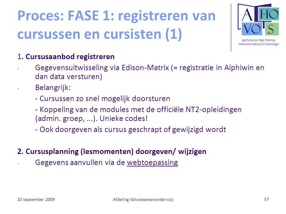 10 september 2009Afdeling Volwassenenonderwijs57 Proces: FASE 1: registreren van cursussen en cursisten (1) 1. Cursusaanbod registreren - Gegevensuitw