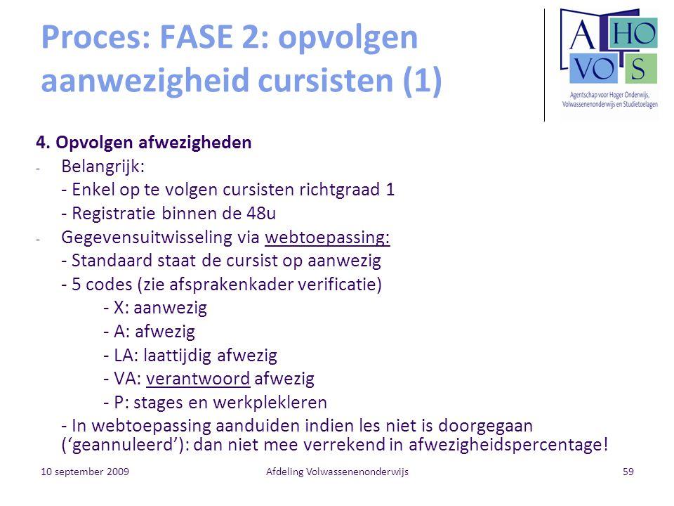 10 september 2009Afdeling Volwassenenonderwijs59 Proces: FASE 2: opvolgen aanwezigheid cursisten (1) 4. Opvolgen afwezigheden - Belangrijk: - Enkel op