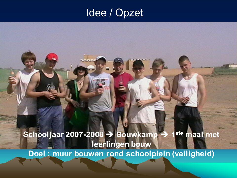 Idee / Opzet Schooljaar 2007-2008  Bouwkamp  1 ste maal met leerlingen bouw Doel : muur bouwen rond schoolplein (veiligheid)