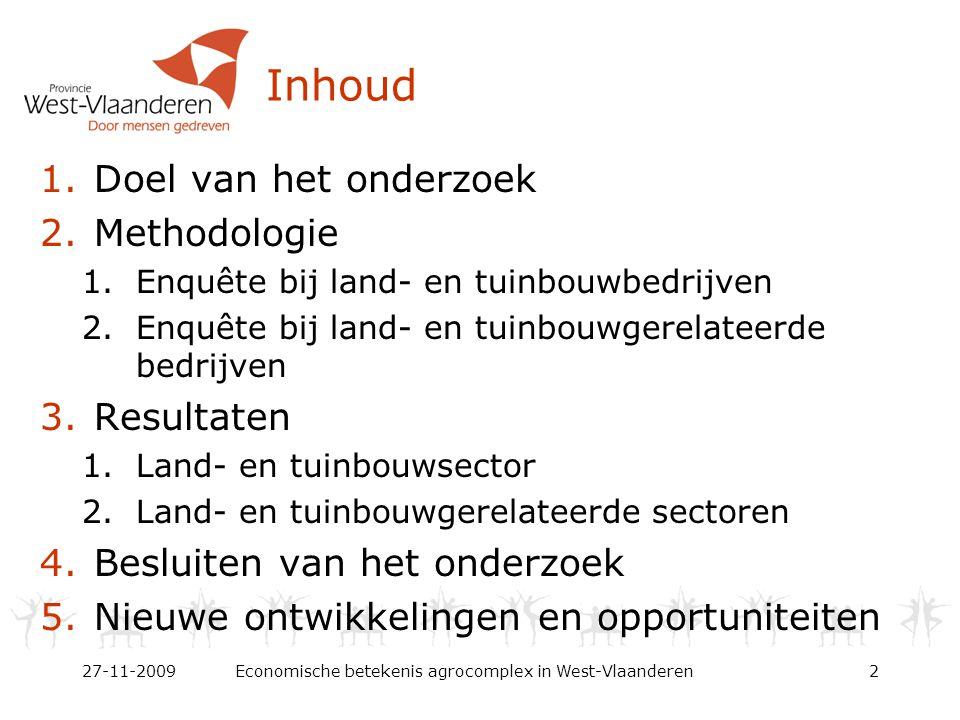 Inhoud 1.Doel van het onderzoek 2.Methodologie 1.Enquête bij land- en tuinbouwbedrijven 2.Enquête bij land- en tuinbouwgerelateerde bedrijven 3.Resultaten 1.Land- en tuinbouwsector 2.Land- en tuinbouwgerelateerde sectoren 4.Besluiten van het onderzoek 5.Nieuwe ontwikkelingen en opportuniteiten 27-11-2009Economische betekenis agrocomplex in West-Vlaanderen2