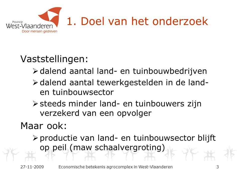 1. Doel van het onderzoek Vaststellingen:  dalend aantal land- en tuinbouwbedrijven  dalend aantal tewerkgestelden in de land- en tuinbouwsector  s
