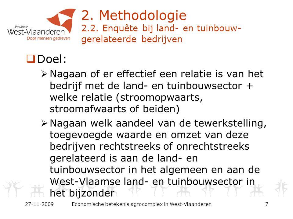  Eindrapport online beschikbaar via: www.west-vlaanderen.be/economie www.regionale-economie.be  Facet 'Economische betekenis van het agrocomplex in West-Vlaanderen' beschikbaar via WES vzw 27-11-2009Economische betekenis agrocomplex in West-Vlaanderen18