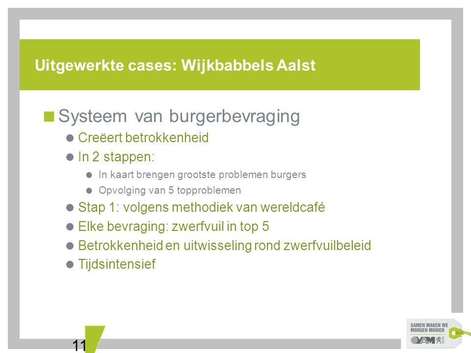 11 Uitgewerkte cases: Wijkbabbels Aalst  Systeem van burgerbevraging  Creëert betrokkenheid  In 2 stappen:  In kaart brengen grootste problemen bu