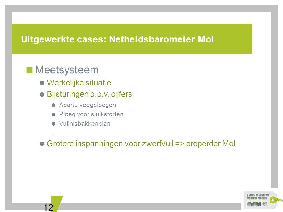 12 Uitgewerkte cases: Netheidsbarometer Mol  Meetsysteem  Werkelijke situatie  Bijsturingen o.b.v. cijfers  Aparte veegploegen  Ploeg voor sluiks