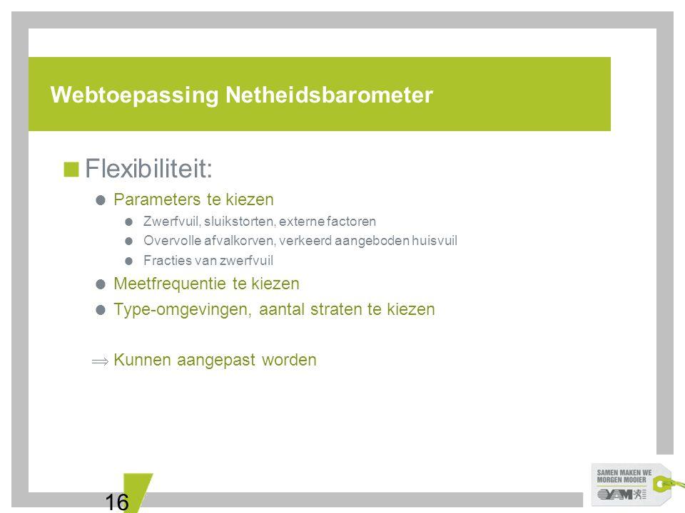 16 Webtoepassing Netheidsbarometer  Flexibiliteit:  Parameters te kiezen  Zwerfvuil, sluikstorten, externe factoren  Overvolle afvalkorven, verkee
