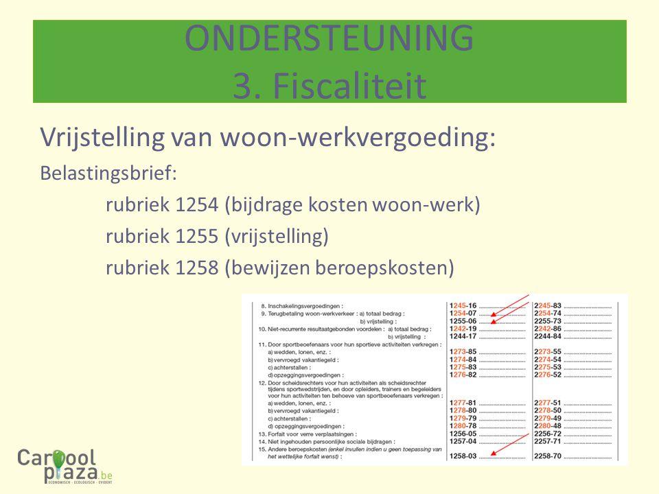 Vrijstelling van woon-werkvergoeding: Belastingsbrief: rubriek 1254 (bijdrage kosten woon-werk) rubriek 1255 (vrijstelling) rubriek 1258 (bewijzen ber