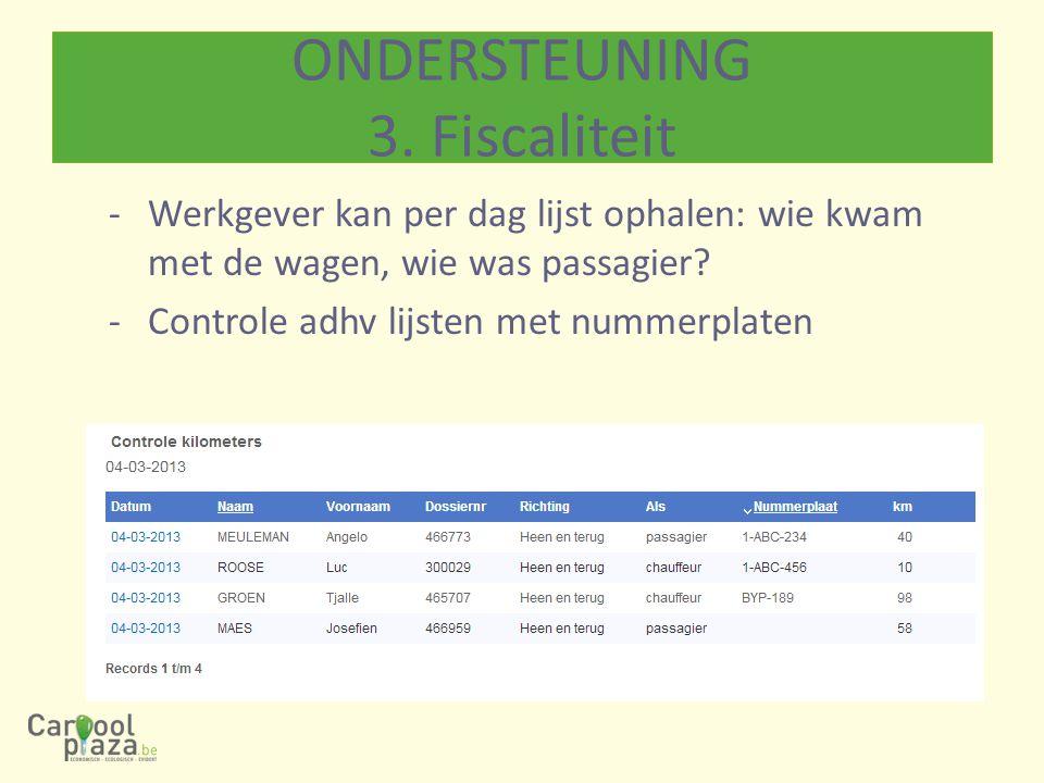 -Werkgever kan per dag lijst ophalen: wie kwam met de wagen, wie was passagier? -Controle adhv lijsten met nummerplaten ONDERSTEUNING 3. Fiscaliteit