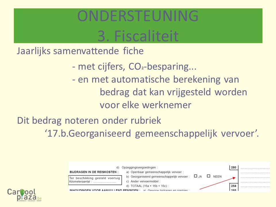 Jaarlijks samenvattende fiche - met cijfers, CO ² -besparing... - en met automatische berekening van bedrag dat kan vrijgesteld worden voor elke werkn