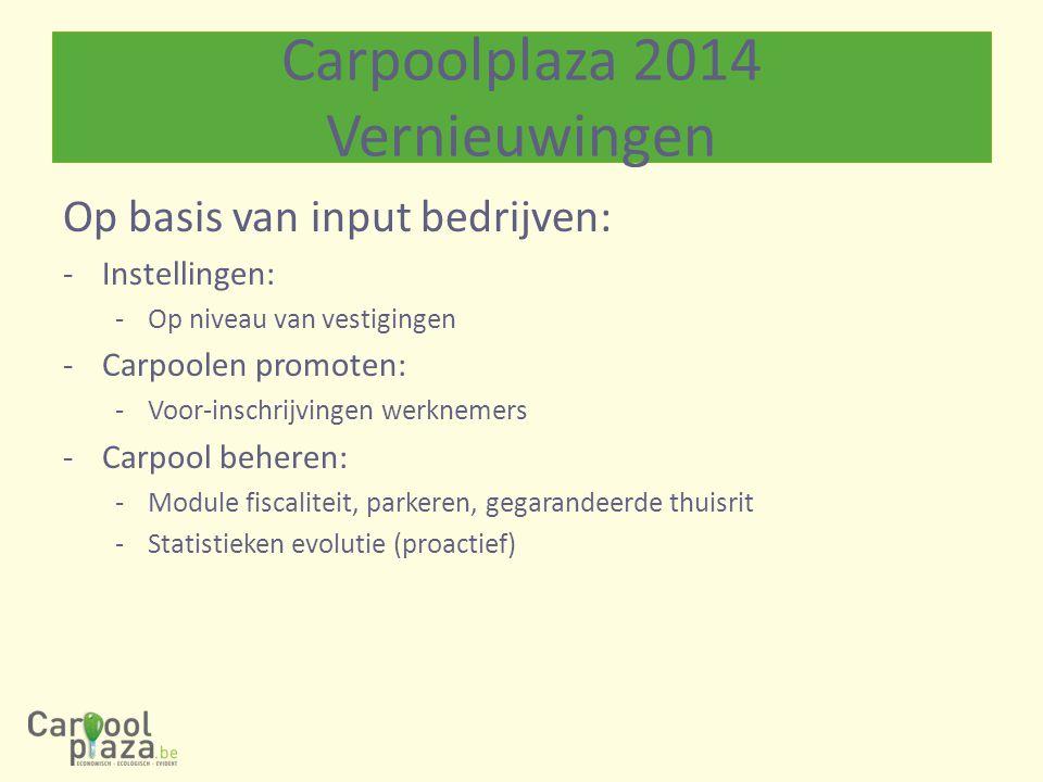 Op basis van input bedrijven: -Instellingen: -Op niveau van vestigingen -Carpoolen promoten: -Voor-inschrijvingen werknemers -Carpool beheren: -Module