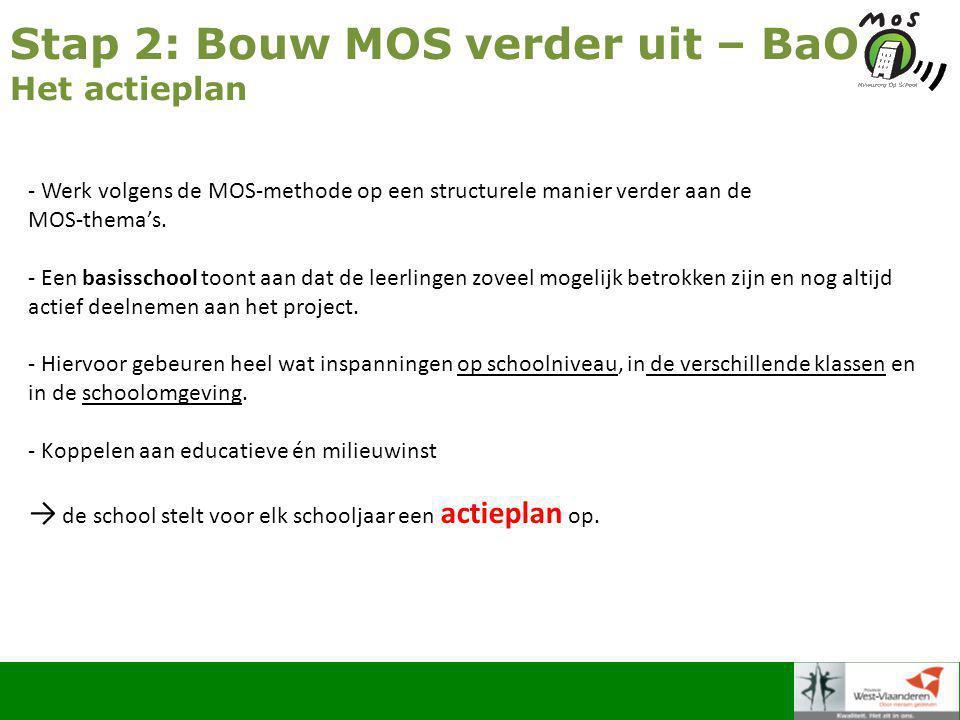 Stap 2: Bouw MOS verder uit – BaO Het actieplan - Werk volgens de MOS-methode op een structurele manier verder aan de MOS-thema's.