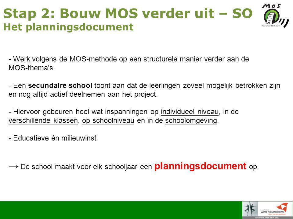 Stap 2: Bouw MOS verder uit – SO Het planningsdocument - Werk volgens de MOS-methode op een structurele manier verder aan de MOS-thema's.